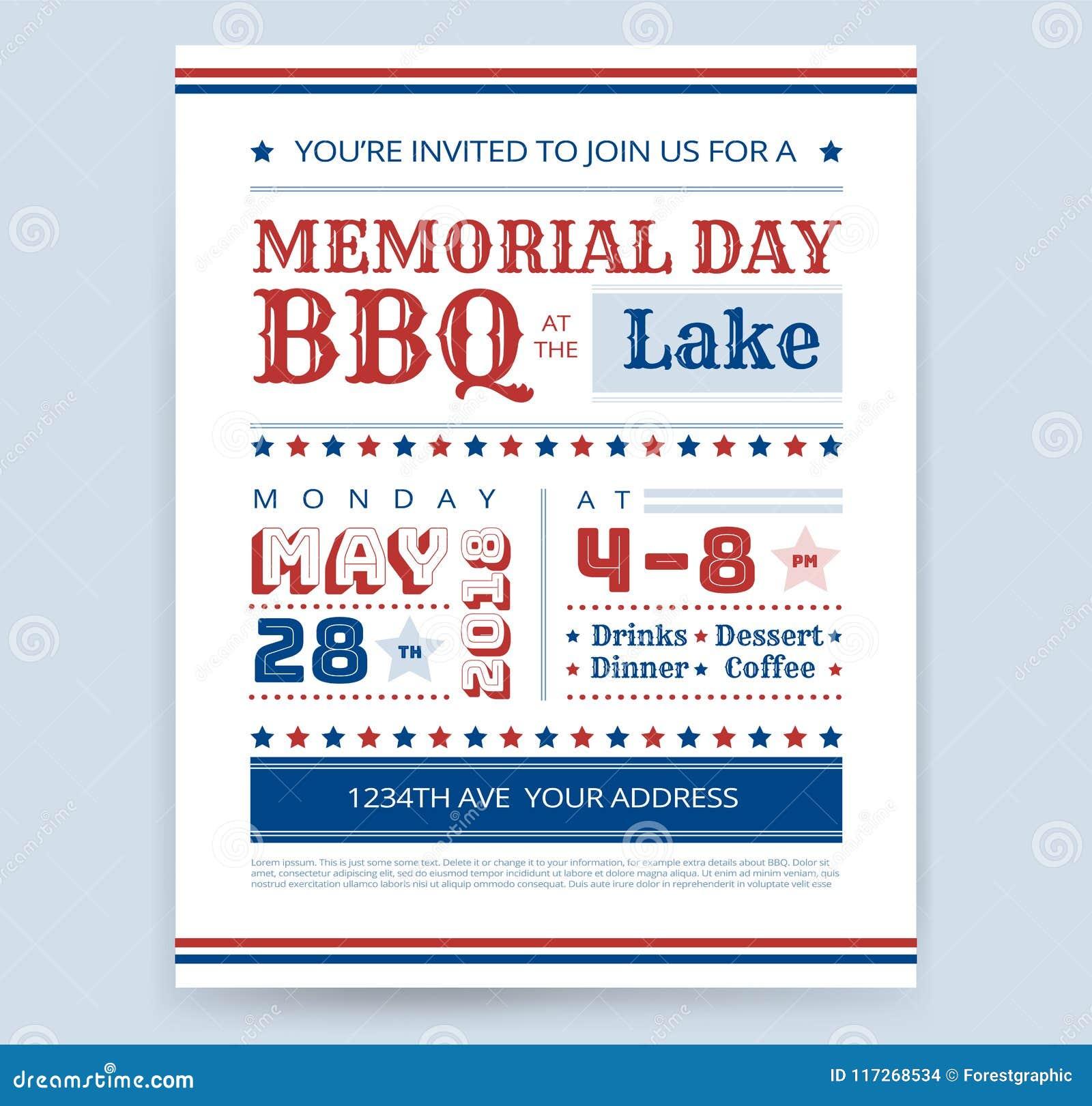 Memorial Day Barbeque BBQ Flyer Invitation Design Template Vector