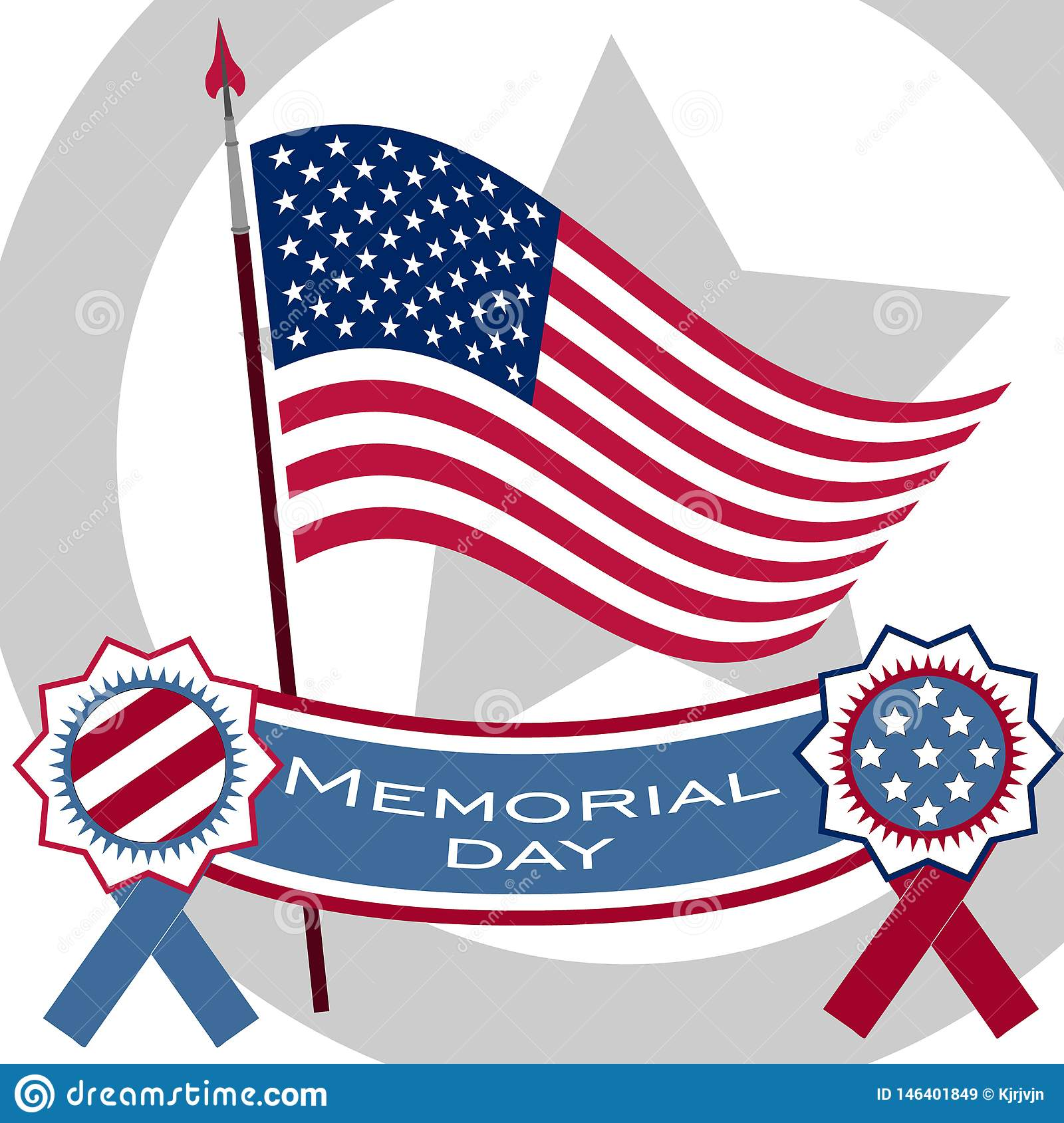 Memorial Day poster. Patriotic holiday banner with flag, veteran attributes like military and war signs and ammunition. USA