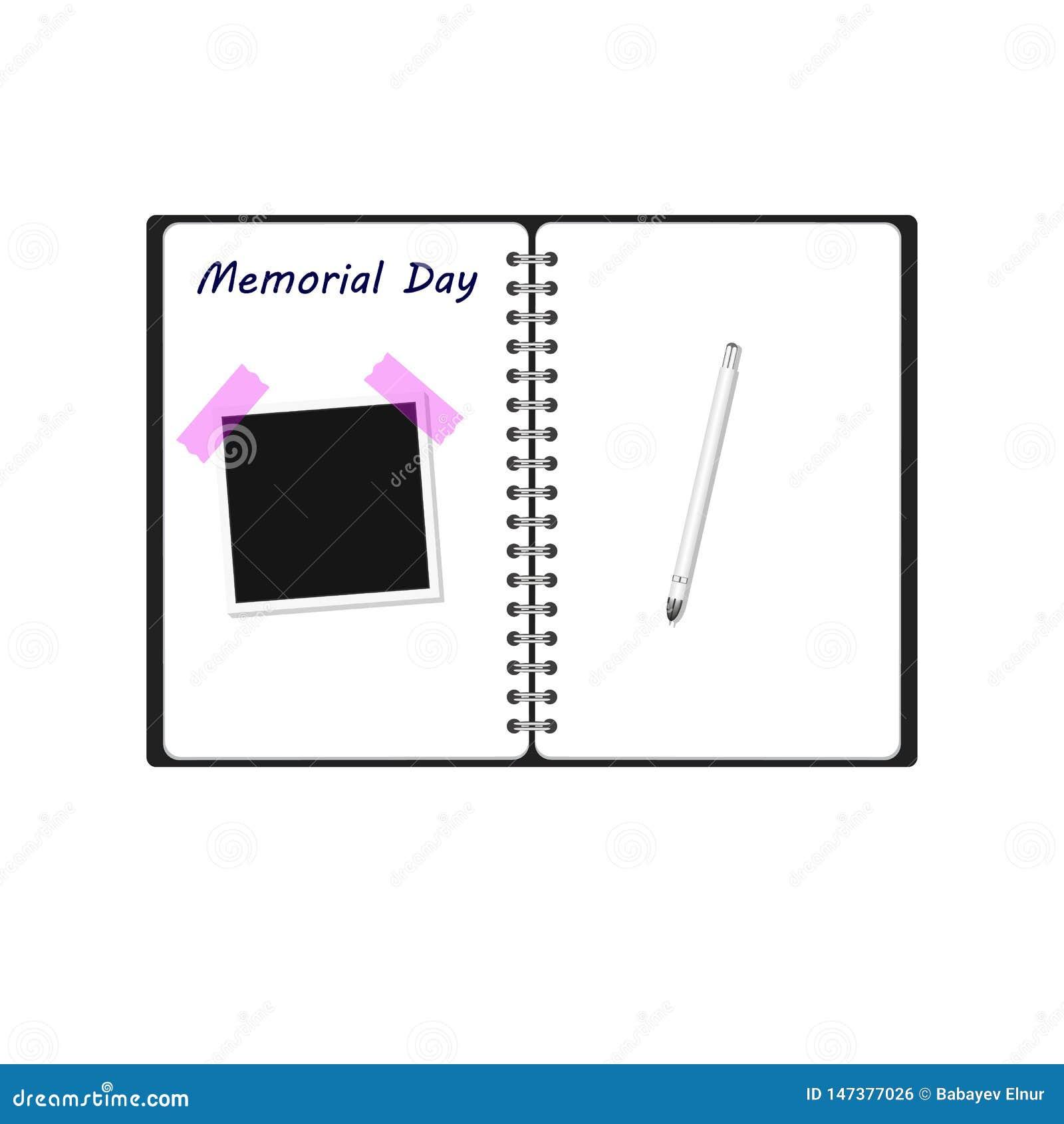 Memorial Day słowa tekst pisać na nutowej książce z fotografii ramy pióra tekstury tłem