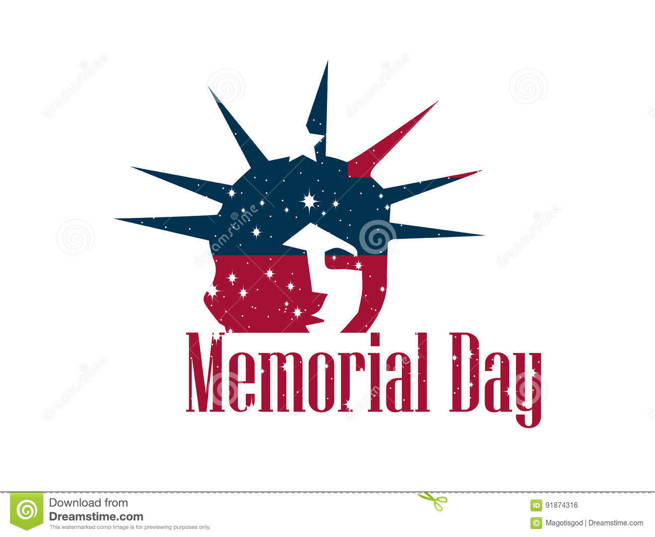 memorial day statue of liberty on a white background banner