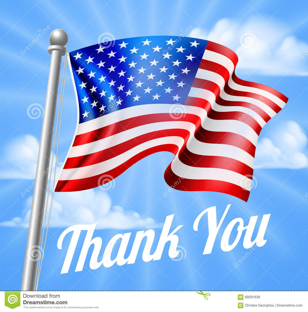 Memorial Day Or Veterans Day Thank You American Flag Stock Vector