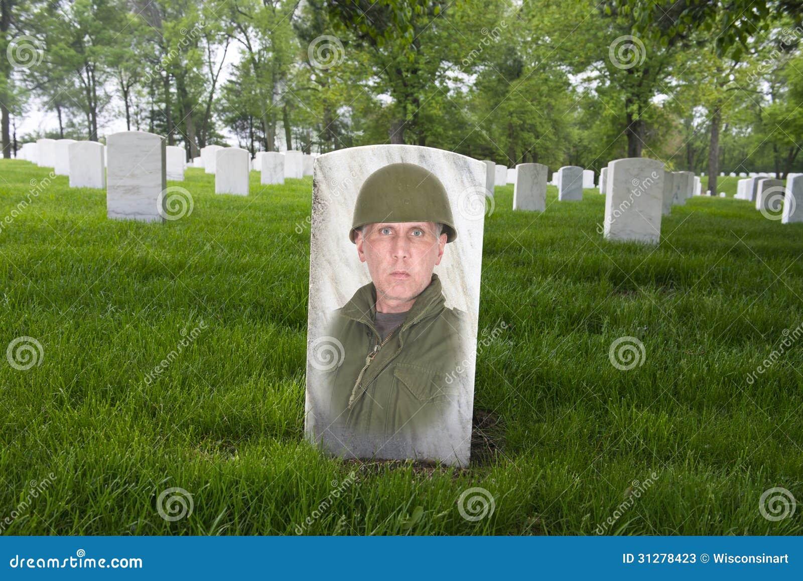 Memorial Day War Veteran Cemetery Army Solider Stock