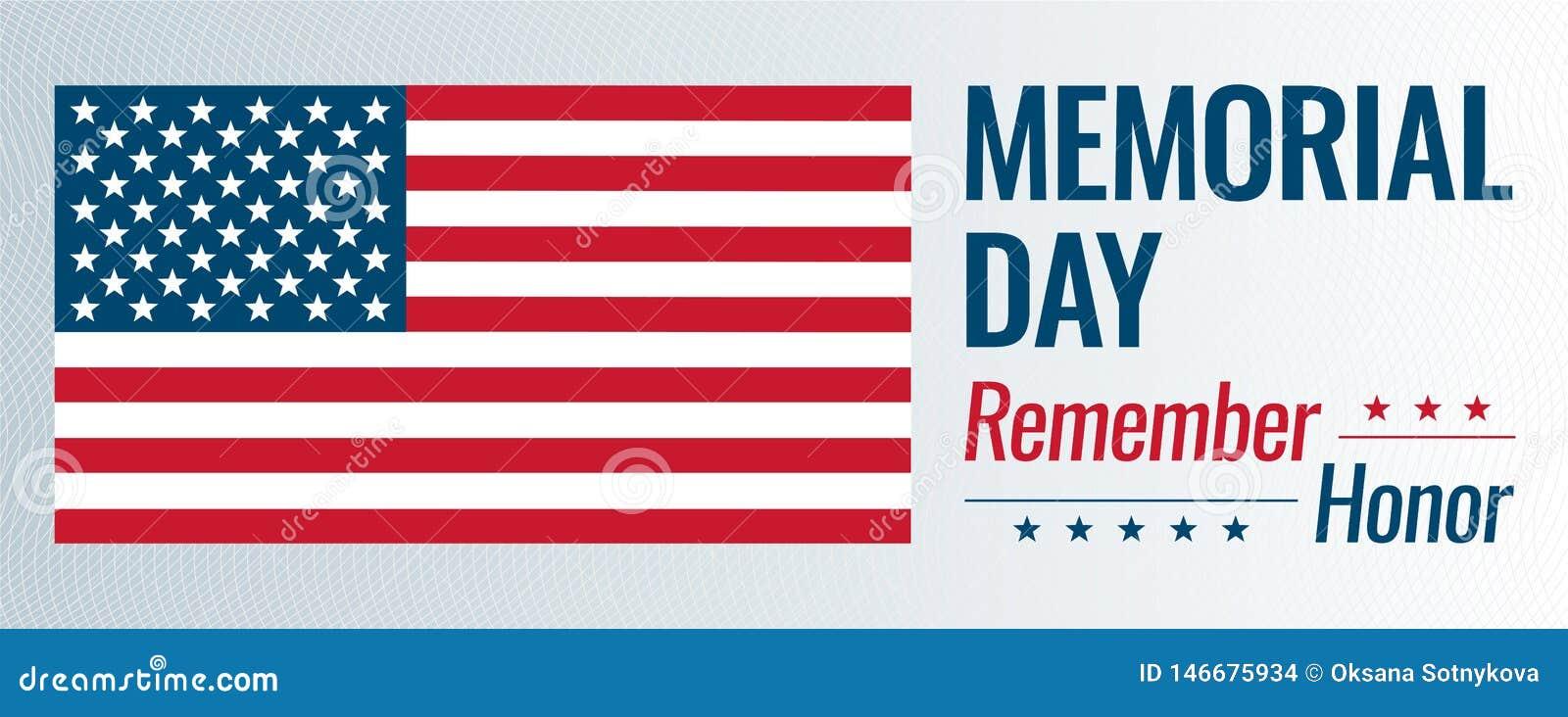 Memorial Day, wektorowa ilustracja Pamięta tekst z usa flagą i honoruje