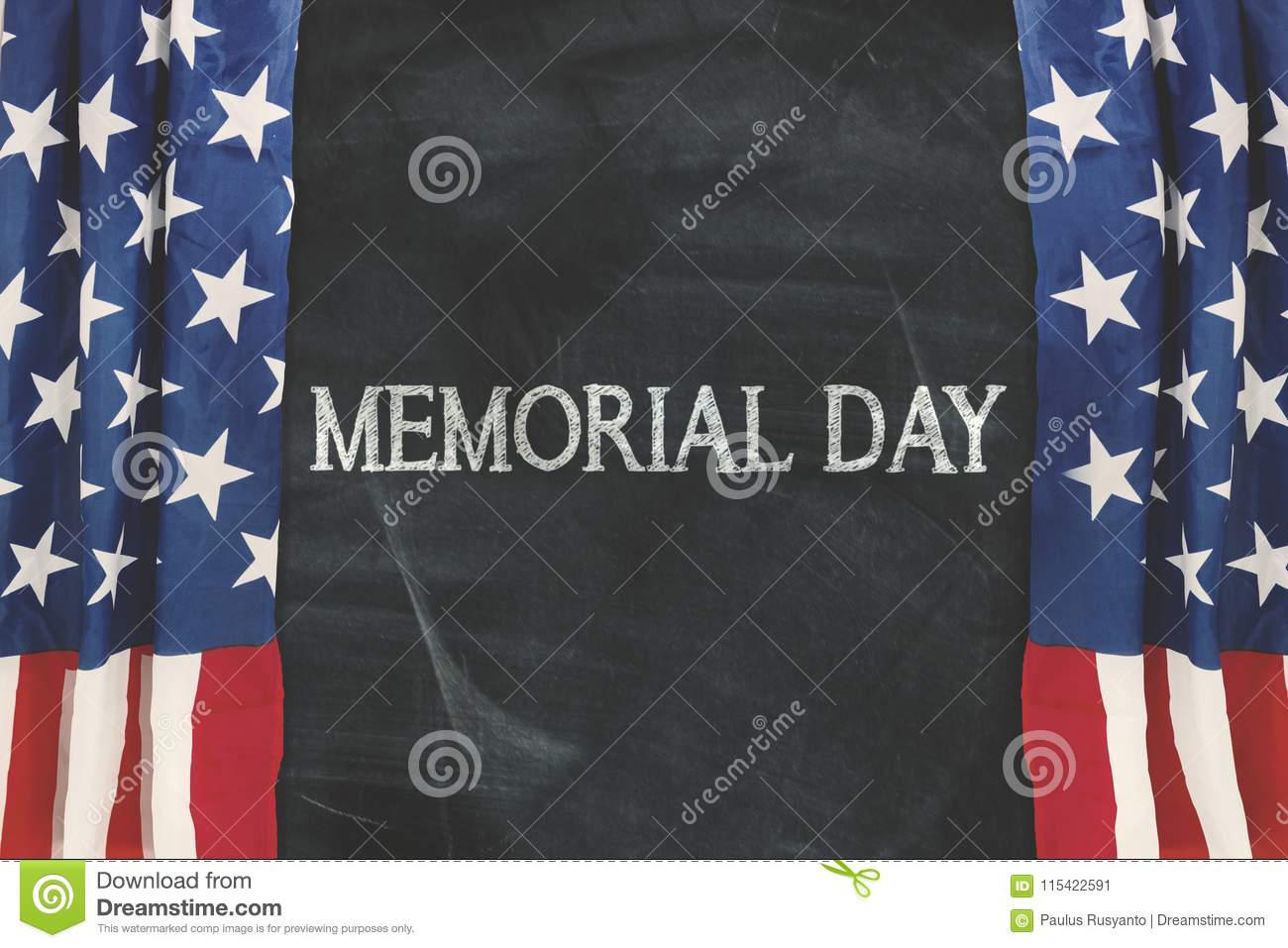 memorial day word with curtain of american flag stock image image