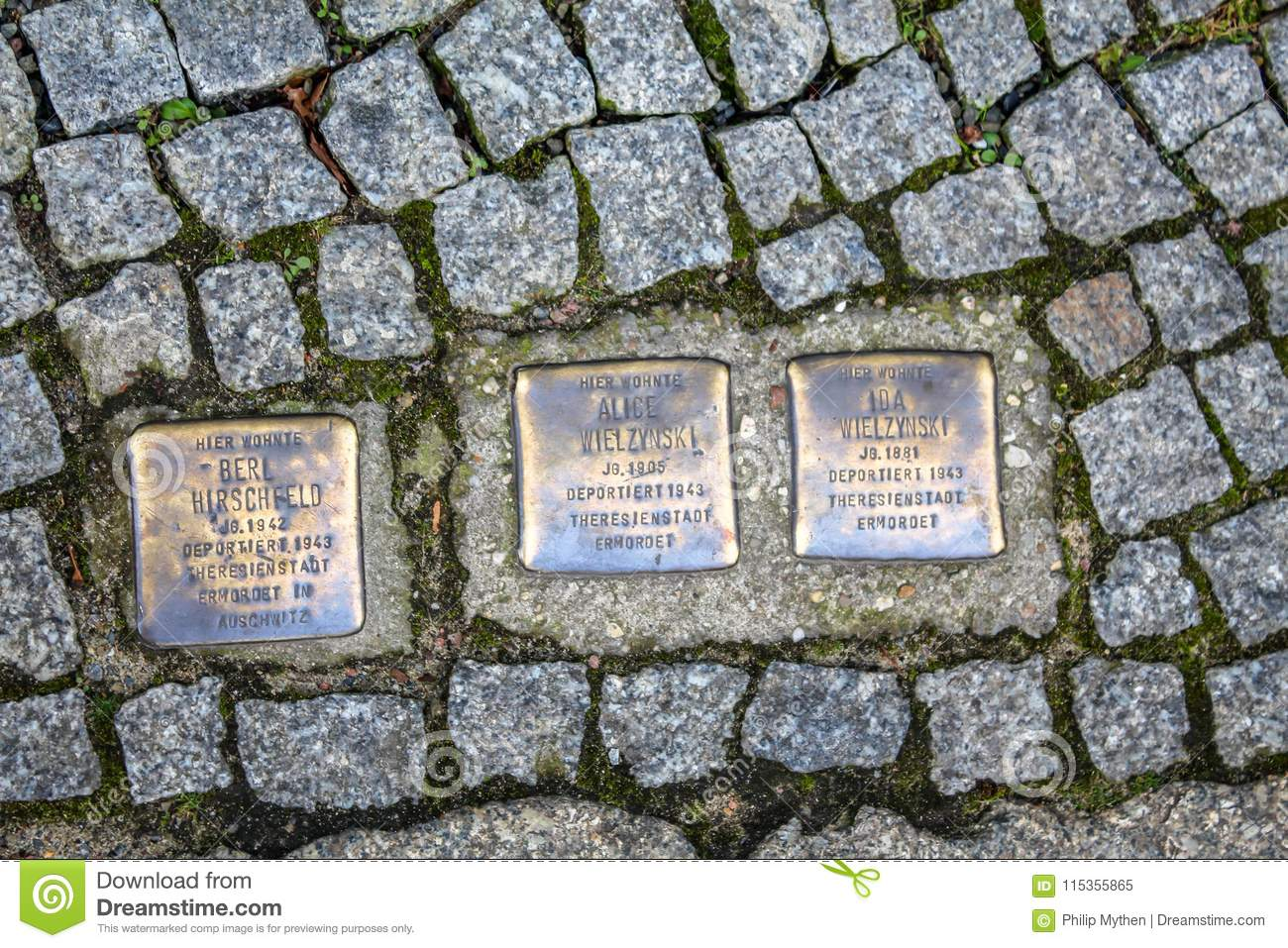 Memorial of jews deported and exterminated in the holocaust on a street in Berlin