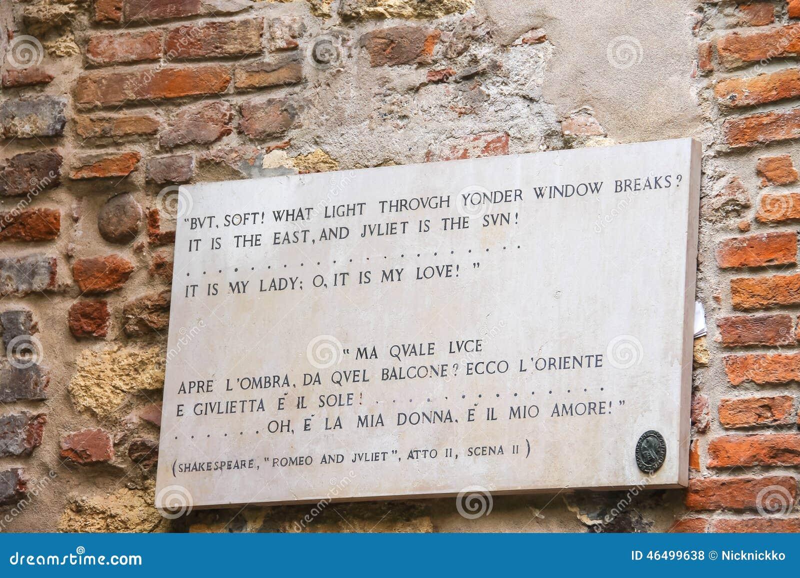 Memorial Plaque On Wall Of The House Juliet In Verona