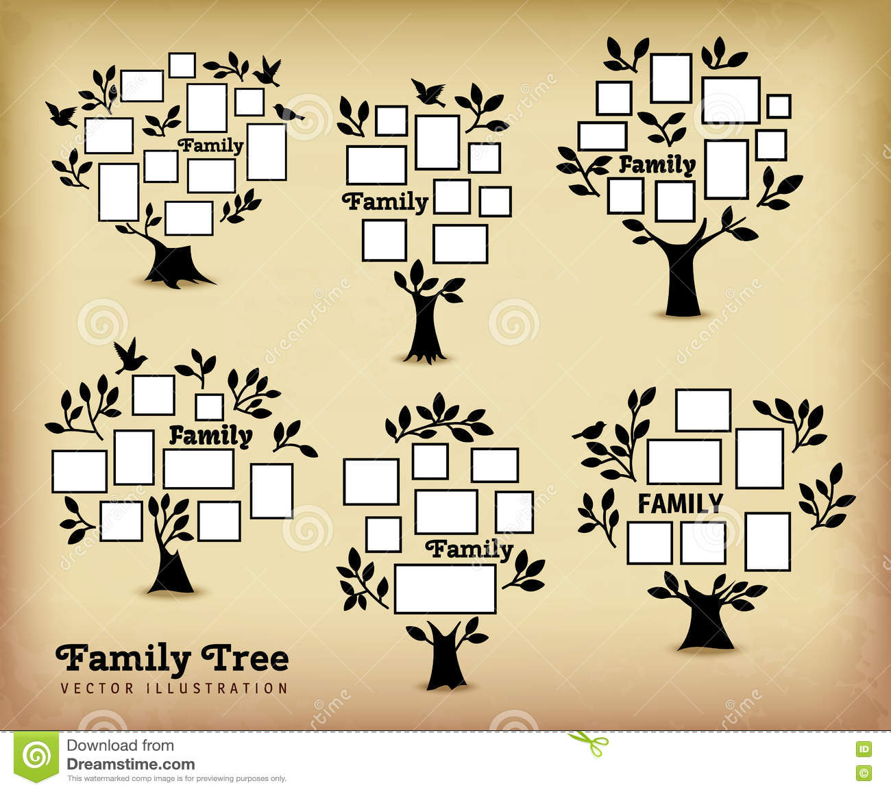 Memories Tree With Frames Stock Vector Illustration Of Family