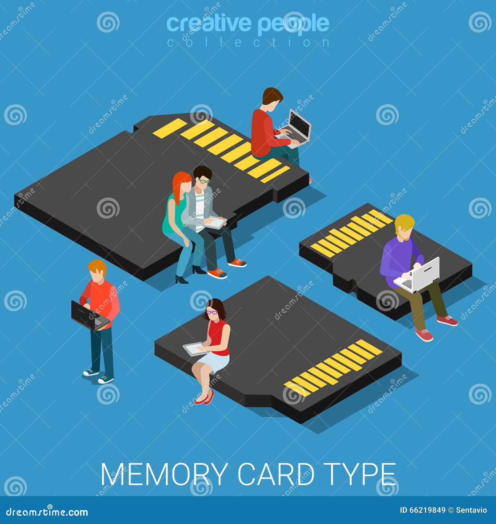 Memory Card Type Size Sd Mini Micro Mmc Flat 3d Isometric
