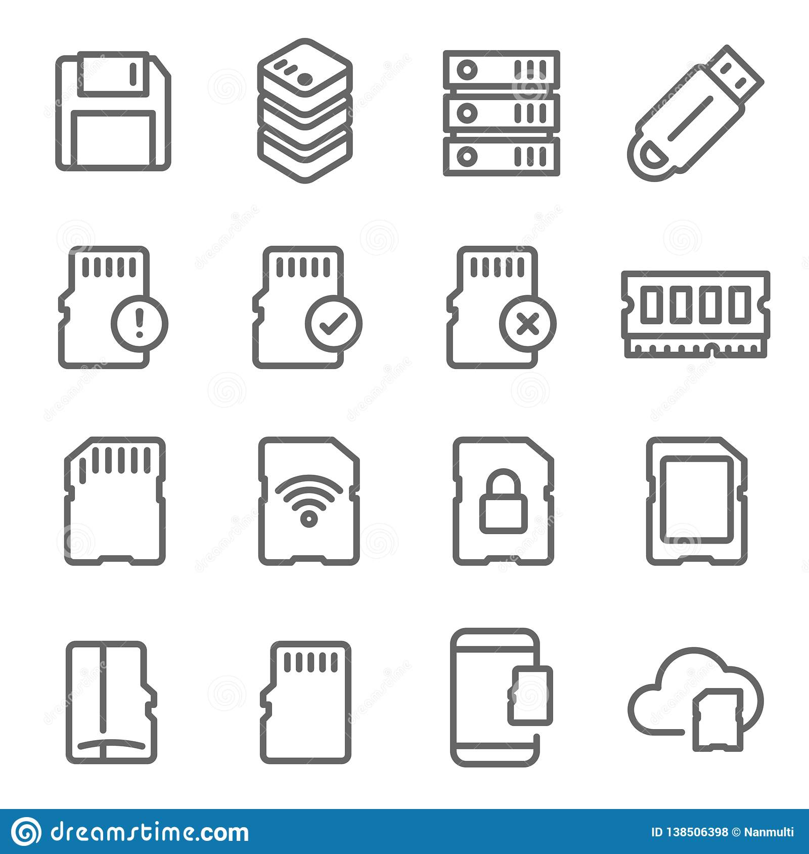 Memory Card Vector Line Icon Set  Contains Such Icons As