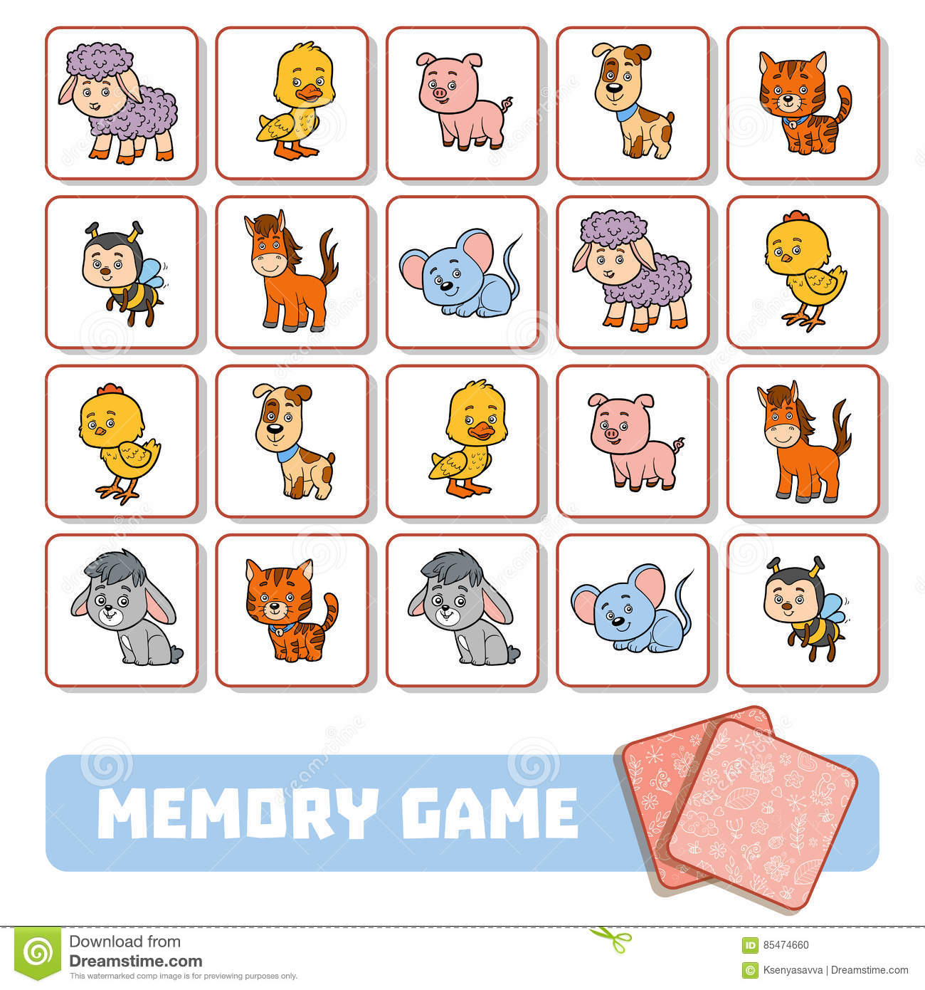 Memory Game For Children, Cards With Farm Animals Stock