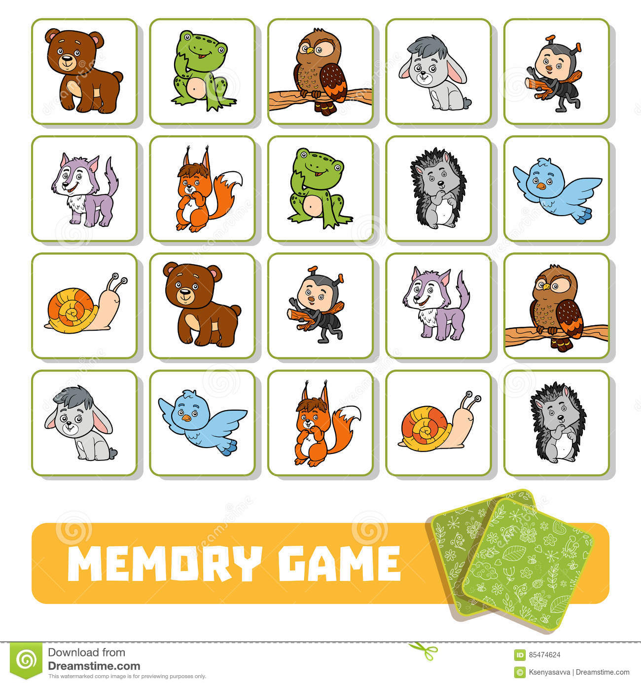 Free Worksheets more or less worksheets preschool : Memory Game For Children, Cards With Forest Animals Stock ...