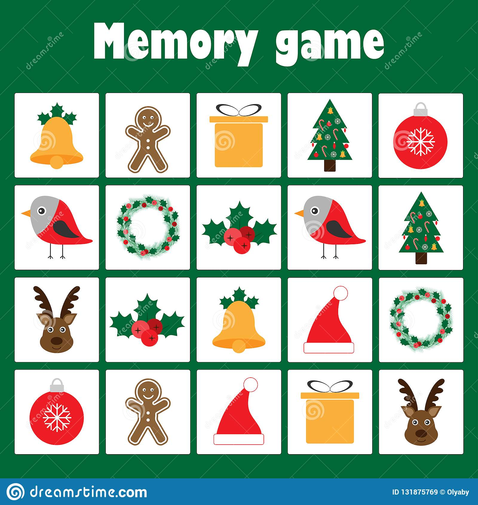 Memory game with pictures - christmas theme for children, xmas fun education game for kids, preschool activity, task for the