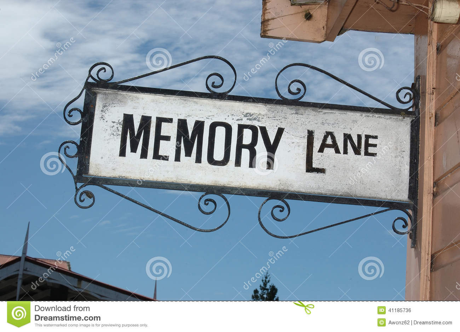 memory lane sign stock photo image 41185736. Black Bedroom Furniture Sets. Home Design Ideas
