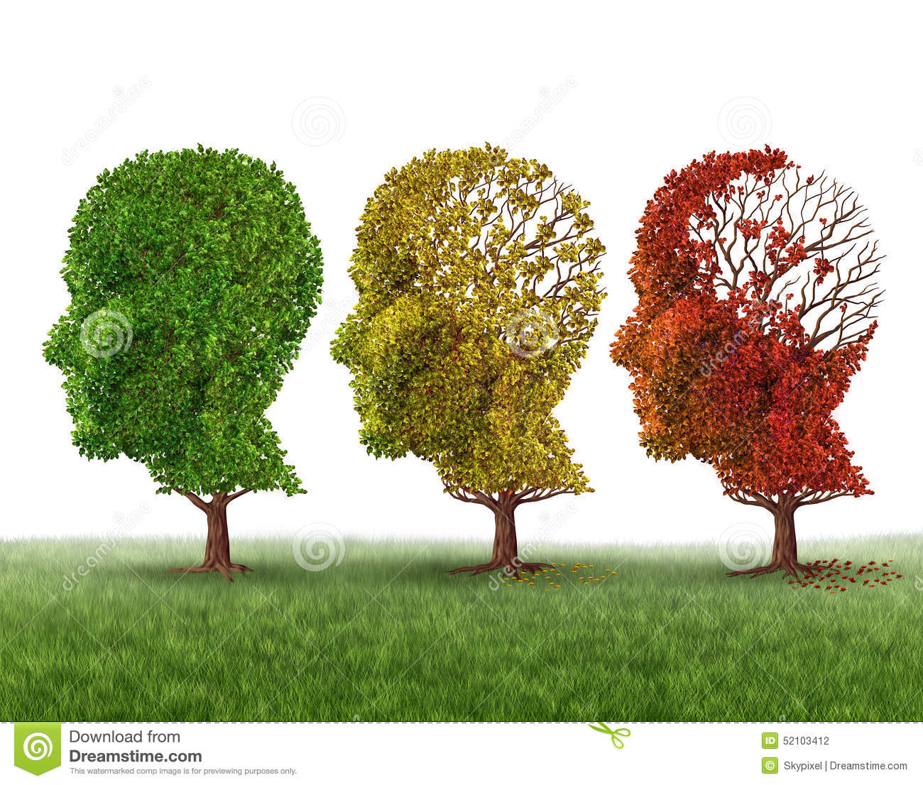 ... fall trees shaped as a human head losing leaves as intelligence