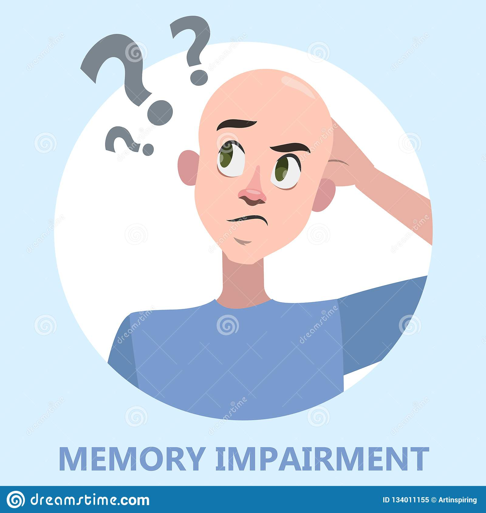 Clip Art of Senior woman with Alzheimer sticky note