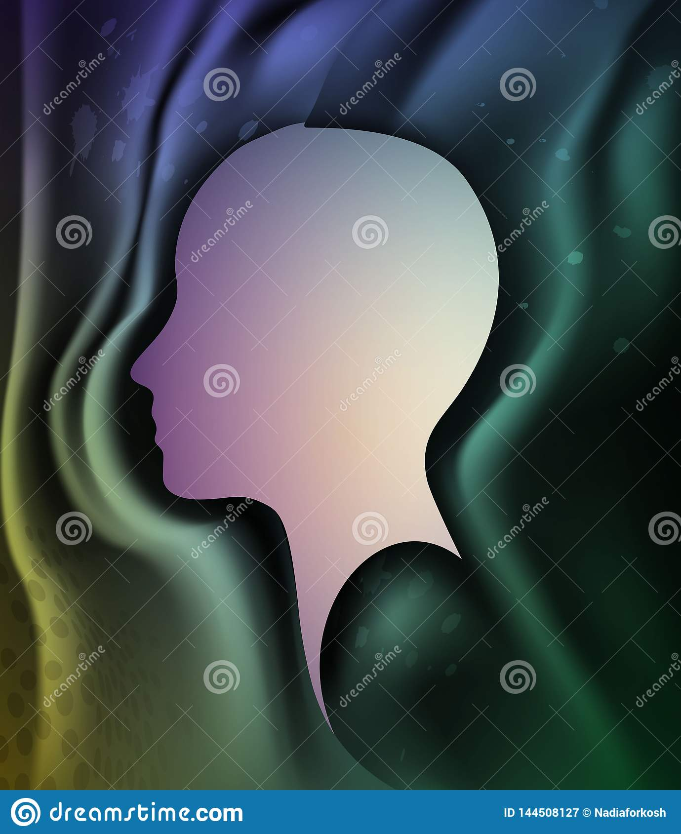 Memory lost concept, human head profile with emptiness inside, color of mind energy, memory lost,