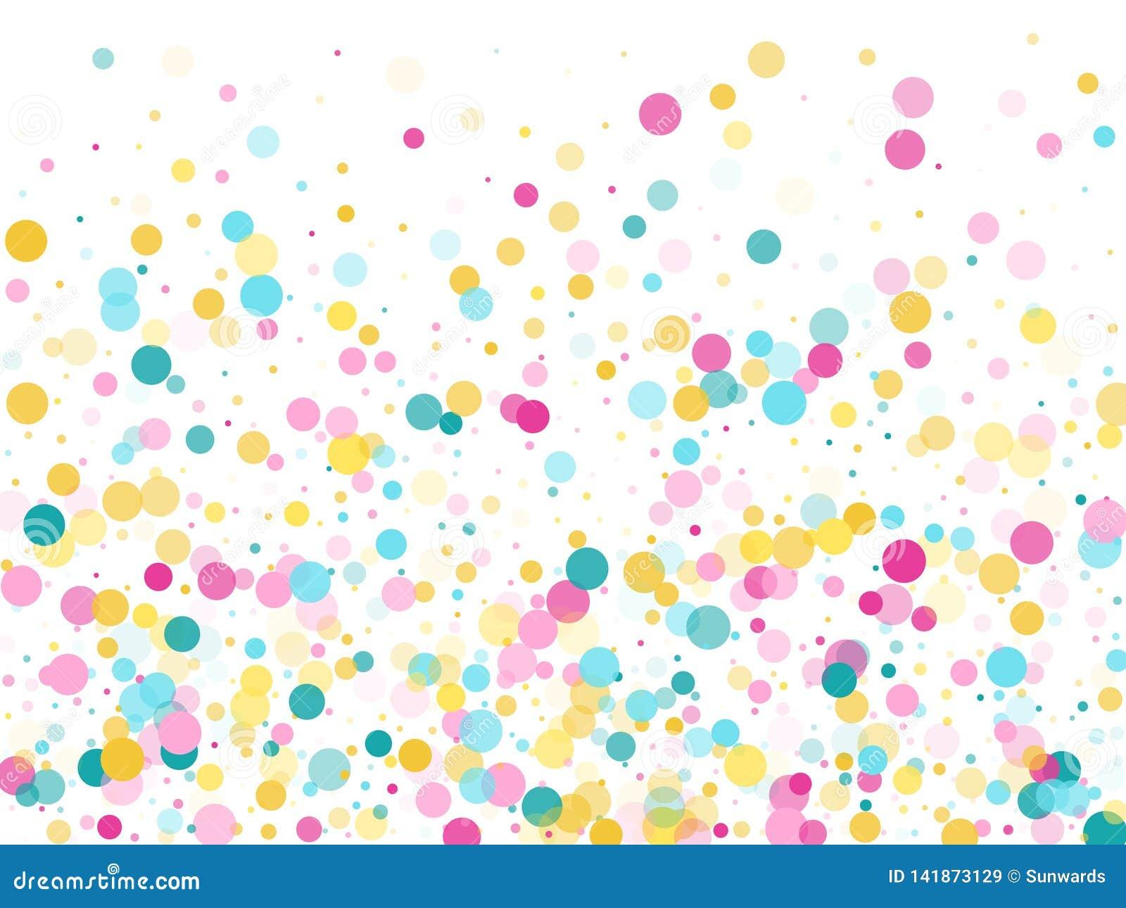 Memphis round confetti świąteczny tło w cyan błękicie, menchiach i kolorze żółtym, Dziecięcy deseniowy wektor