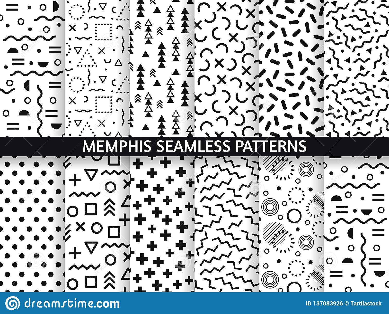 Memphis sömlösa modeller Skraj modell, retro mode80-tal och textur för 90-taltryckmodell Geometrisk diagramstil