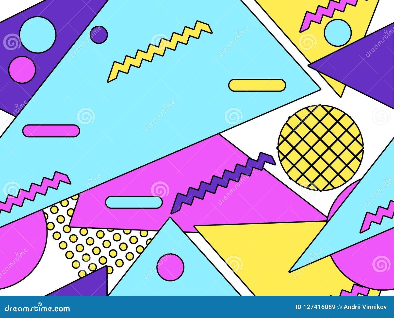 Memphis Seamless Pattern  Geometric Objects With Stroke