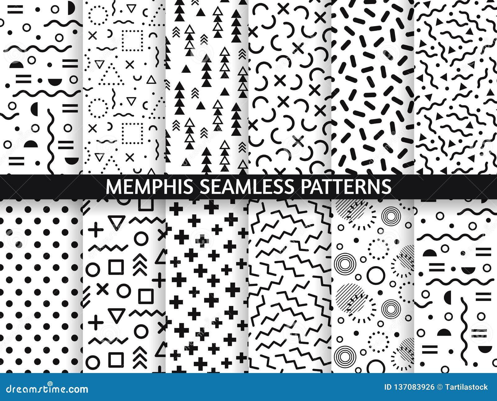 Memphis Seamless Patterns  Funky Pattern, Retro Fashion 80s