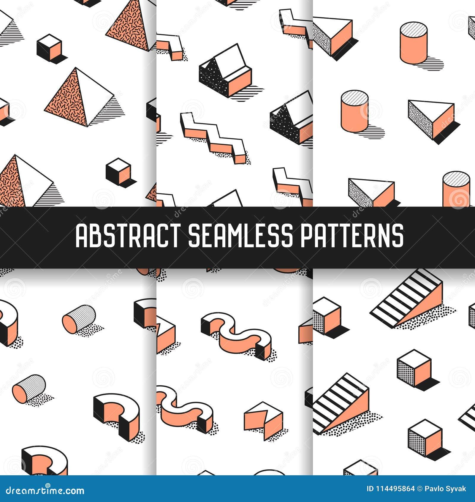 Memphis Style Abstract Seamless Patterns ajustou-se com elementos geométricos Fundos funky da forma do moderno 80s-90s