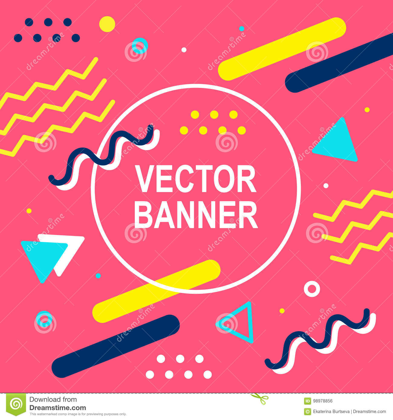 Memphis Style Banner Template  80-90s Trendy Fashion