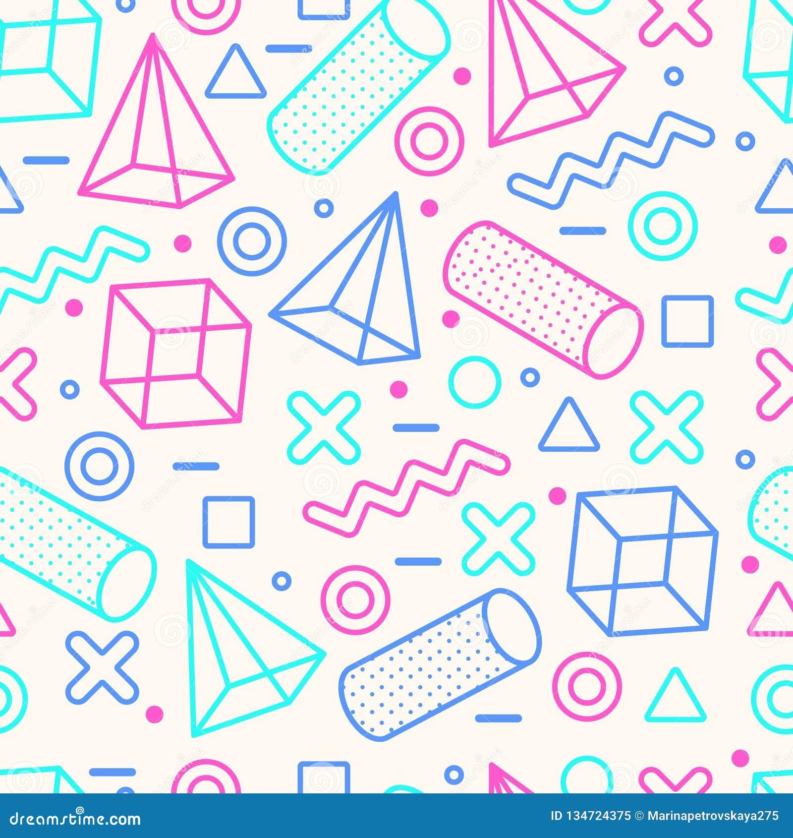 Memphis Style Seamless Pattern abstrato com formas geométricas