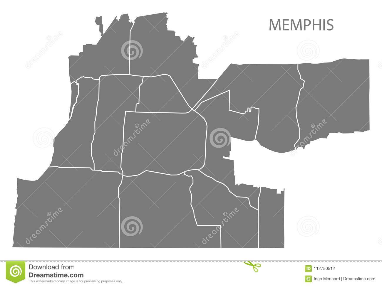 Memphis Tennessee City Map With Neighborhoods Grey Illustration ...