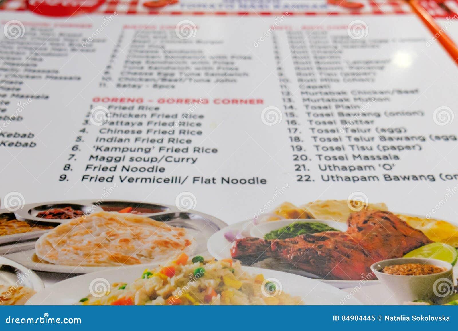 Menú De La Foto Del Restaurante Indio De La Playa En Malasia Imagen ...