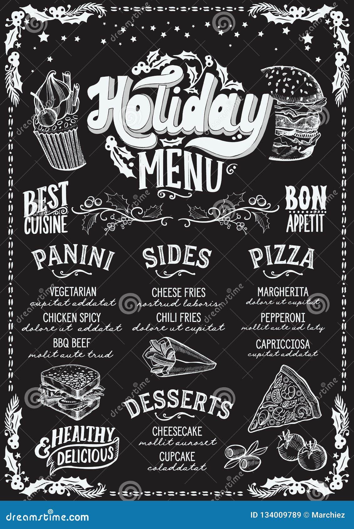 Menu De La Navidad Para El Restaurante Y Cafe En Una Pizarra