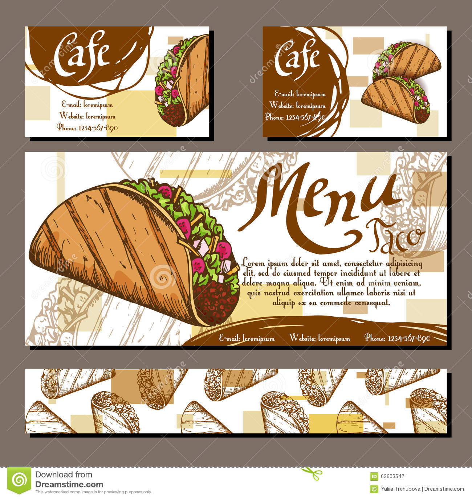 Plantilla Determinada Del Diseño Gráfico Del Menú Del Café Del ...