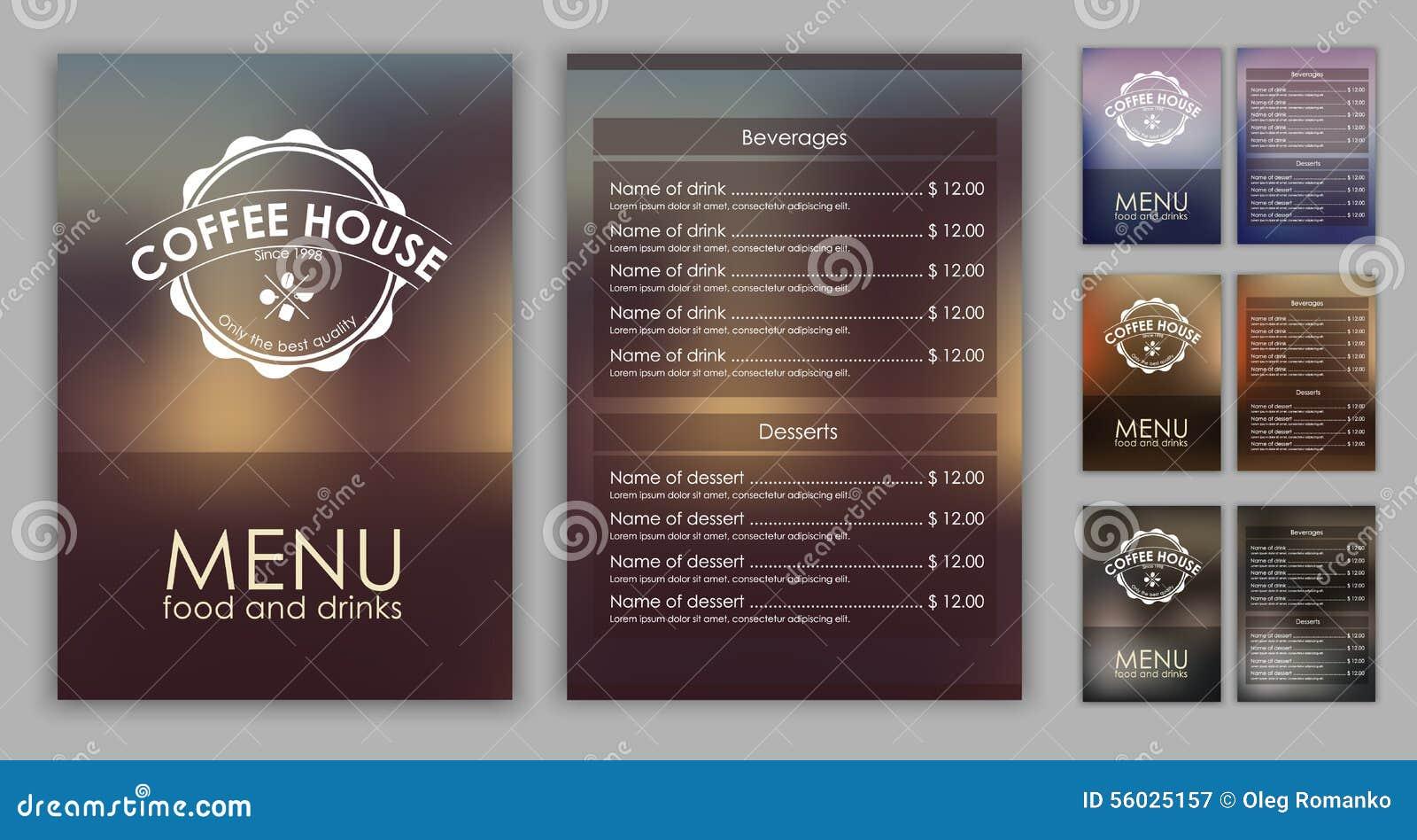 Men del caf del dise o con el fondo borroso ilustraci n for Muebles para cafeteria precios