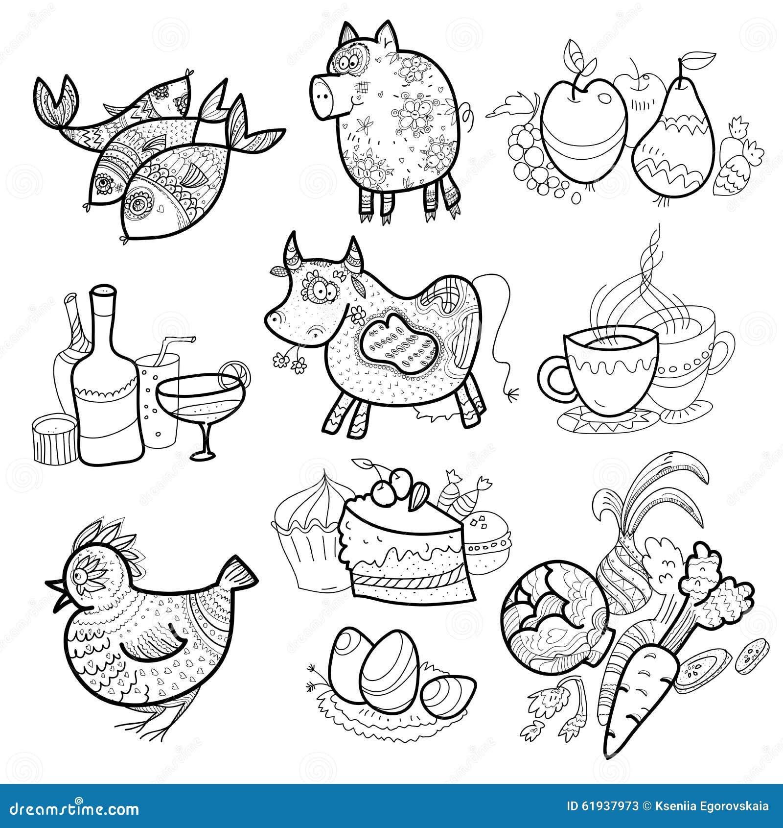 Menú Del Libro De Colorear Ilustración Del Vector Ilustración De