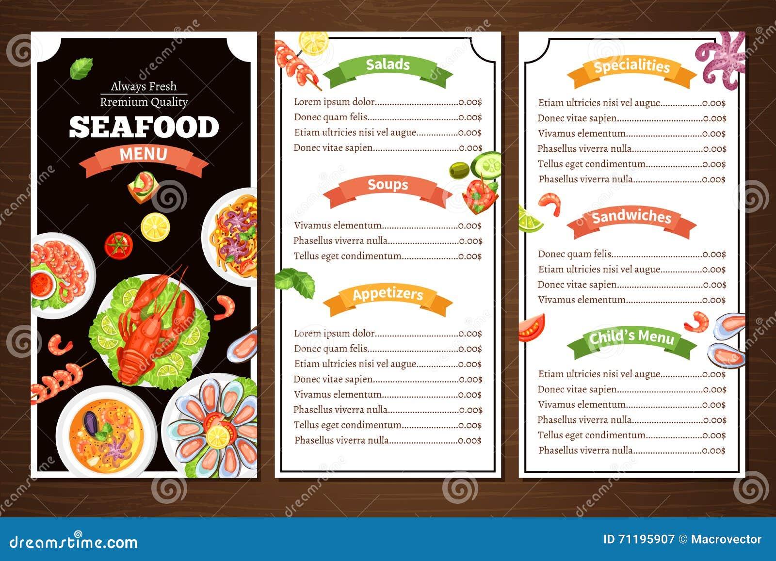 menú del restaurante de los mariscos ilustración del vector