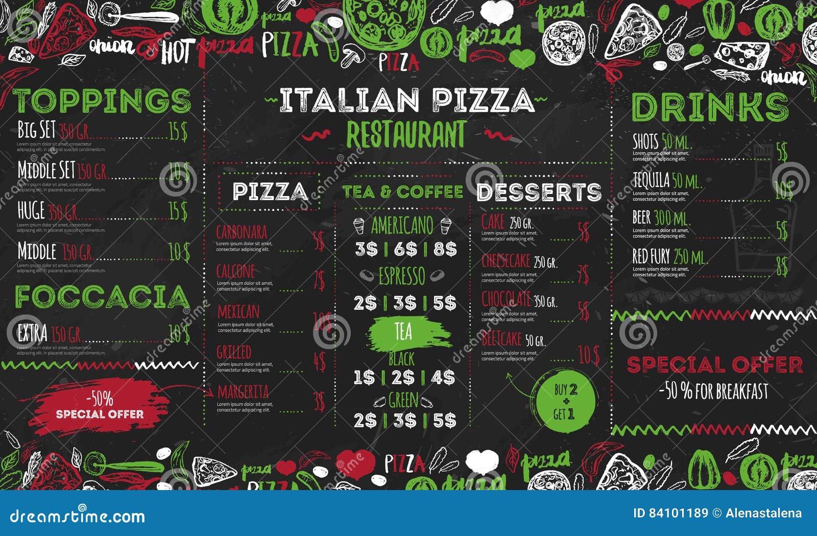 Menú Italiano De La Pizza, Diseño Para Los Restaurantes, Café De ...