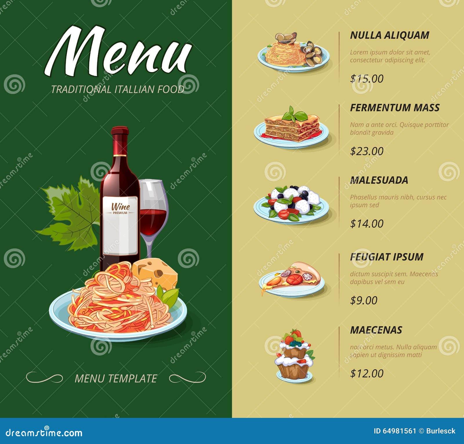 Menú Italiano Del Restaurante De La Cocina Diseño Del Vector ...