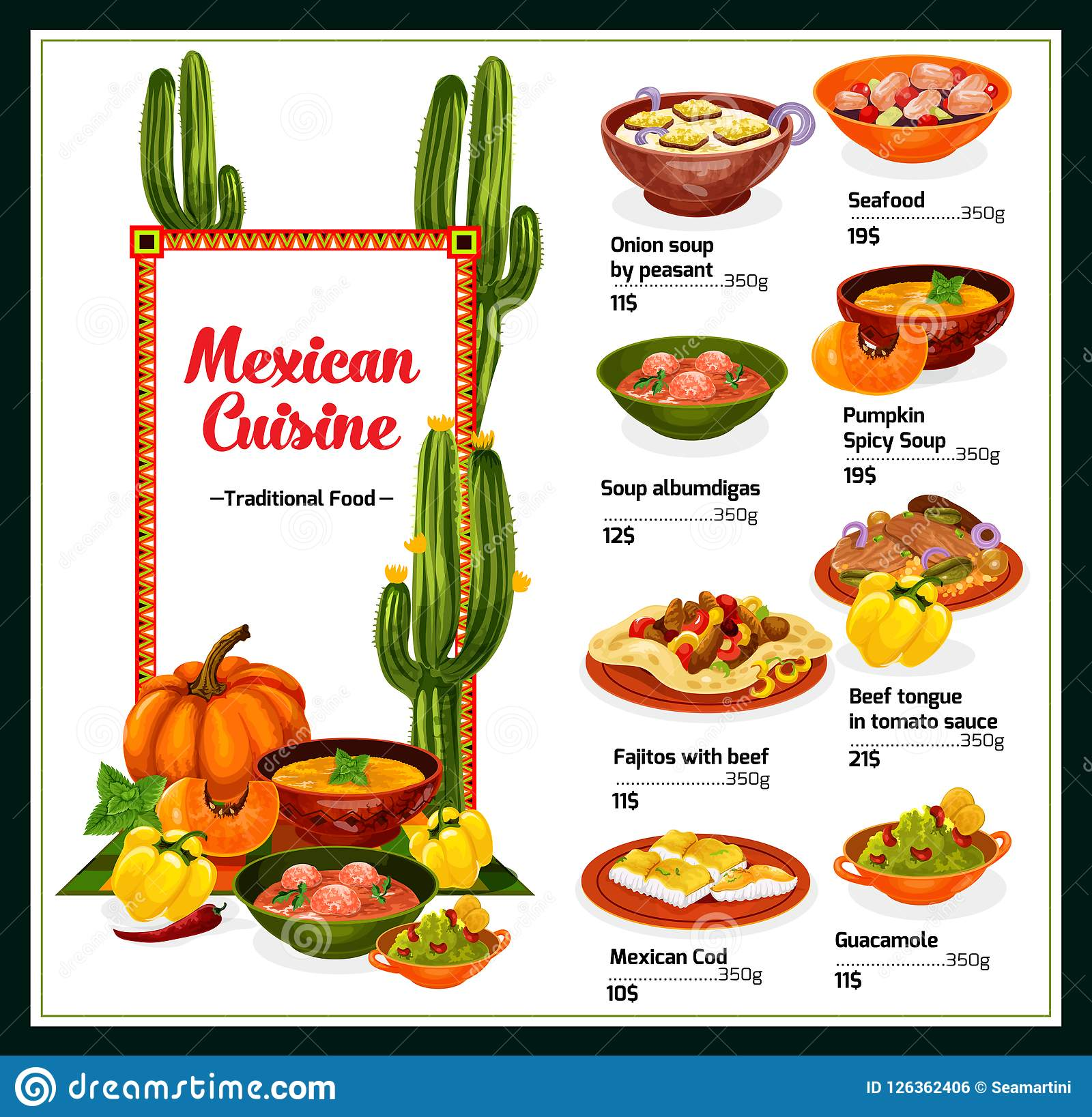 Menú Mexicano De La Cocina Con Los Platos De México Ilustración ...