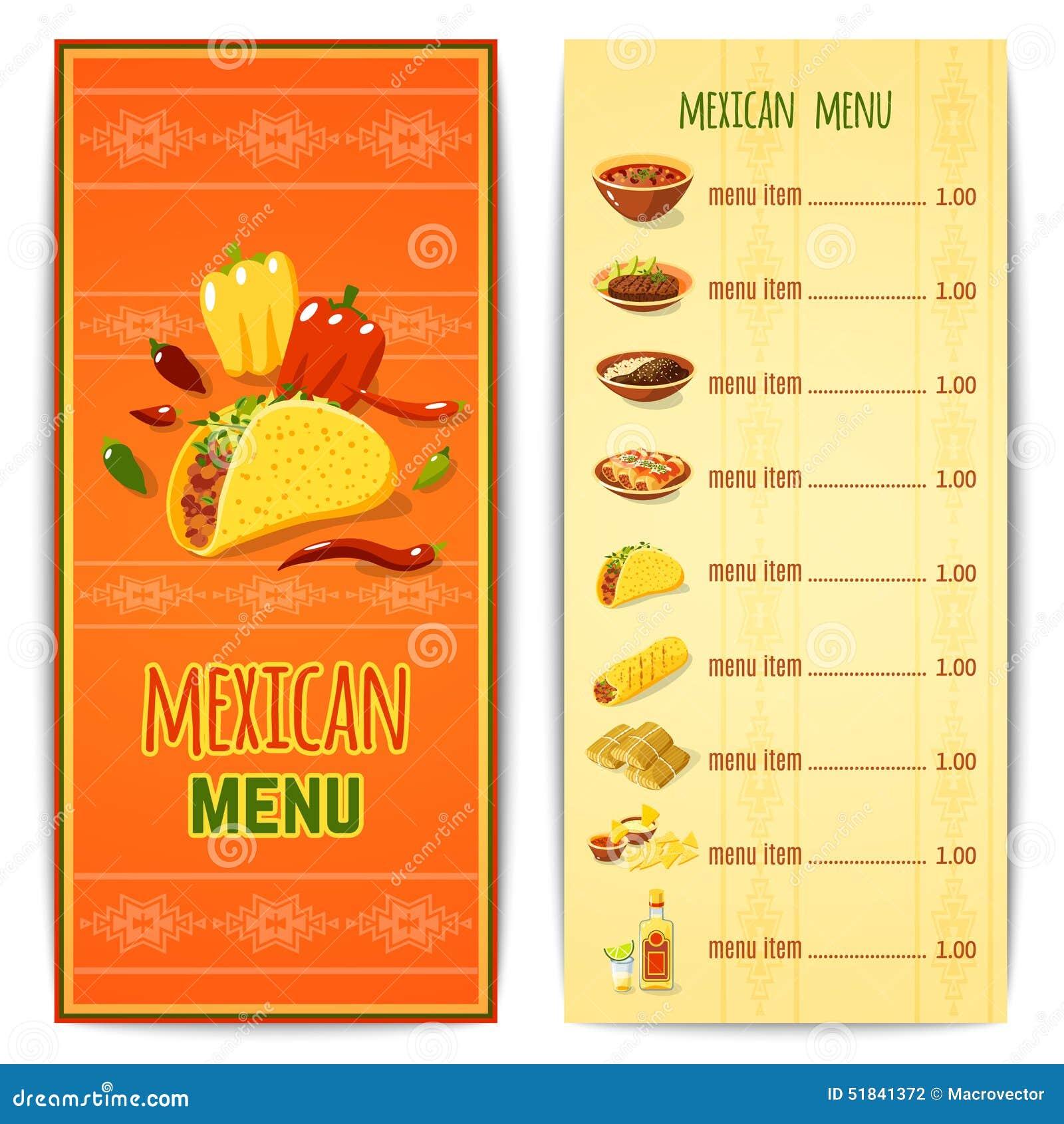 Men mexicano de la comida ilustraci n del vector imagen - Menus para comidas familiares ...