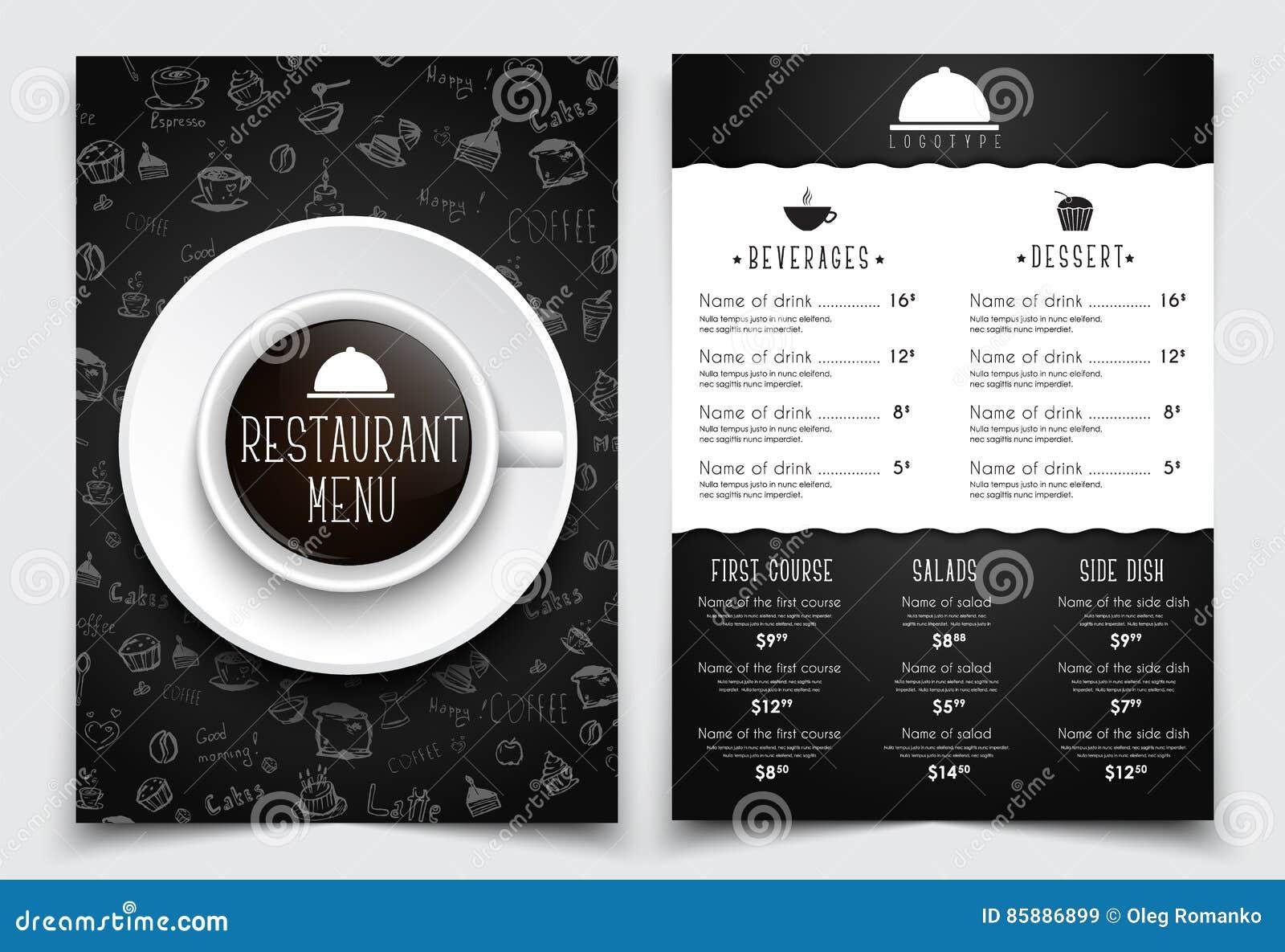 Menü Der Schablone A4 Für Restaurant Oder Café Schwarzes Design Mit ...