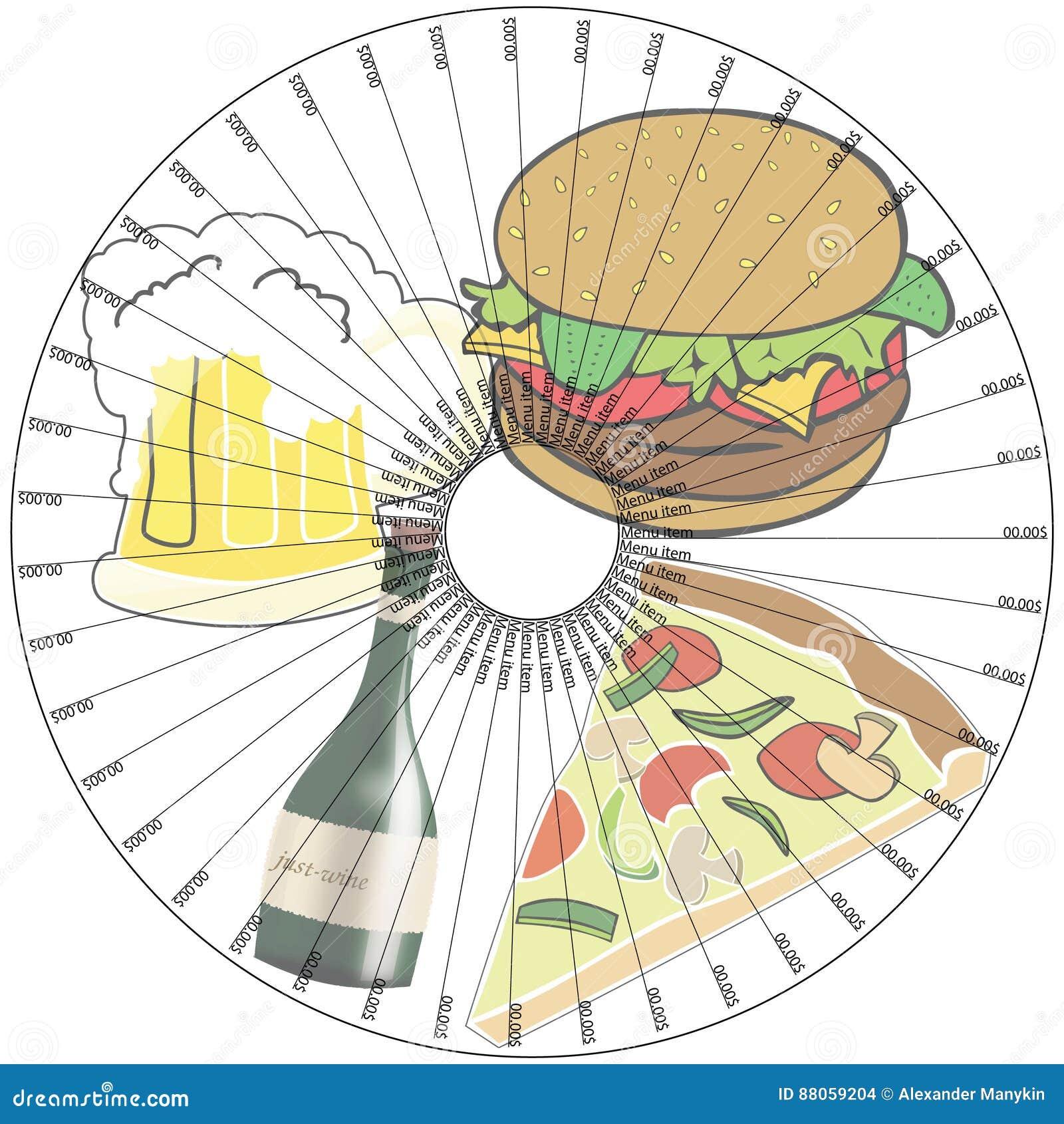 Menü-Stand für einen Teller in einer Pizzeria oder in einem Restaurant