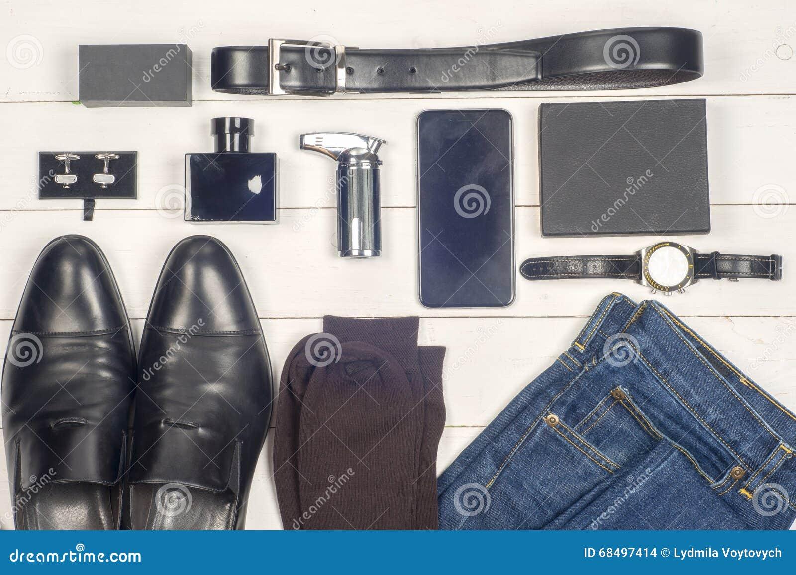 Men Accessories. Black Elegant Accessories Pieces On White ...