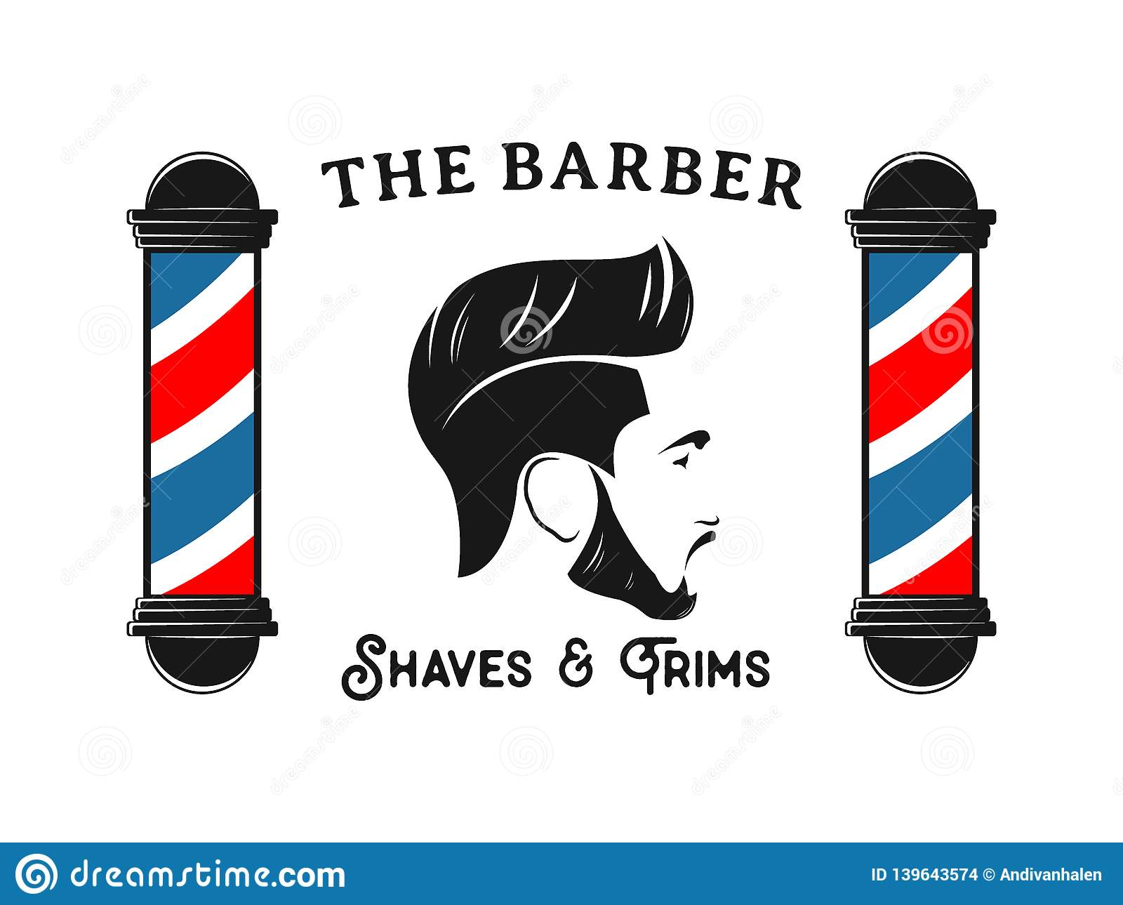 Men Barbershop Hairstylist Banner Logo Badge Vector Design Stock Vector Illustration Of Hair Scissor 139643574