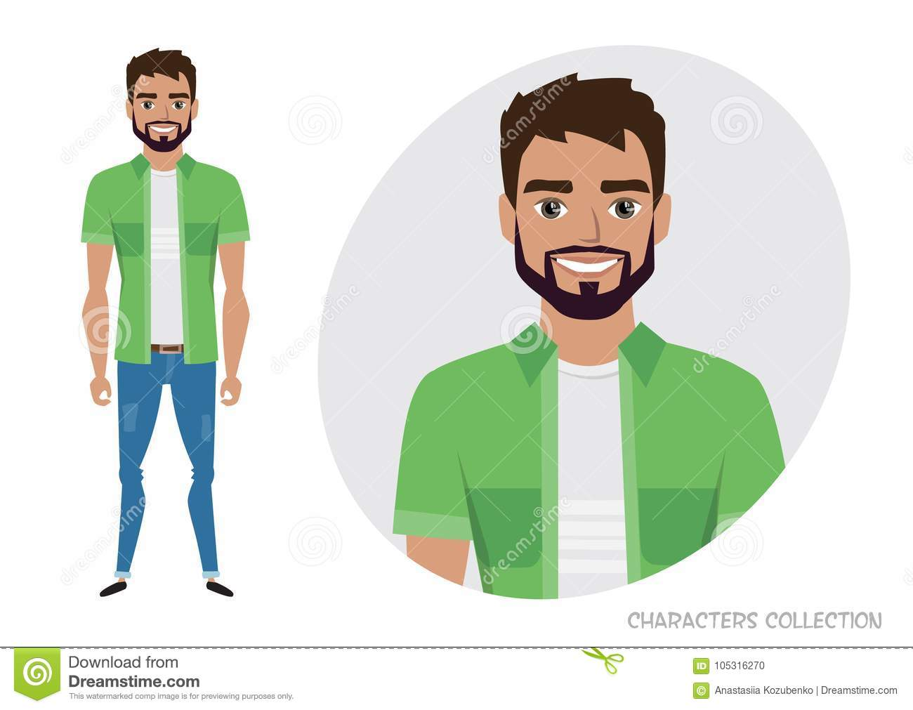 Men with beard in casual cloth