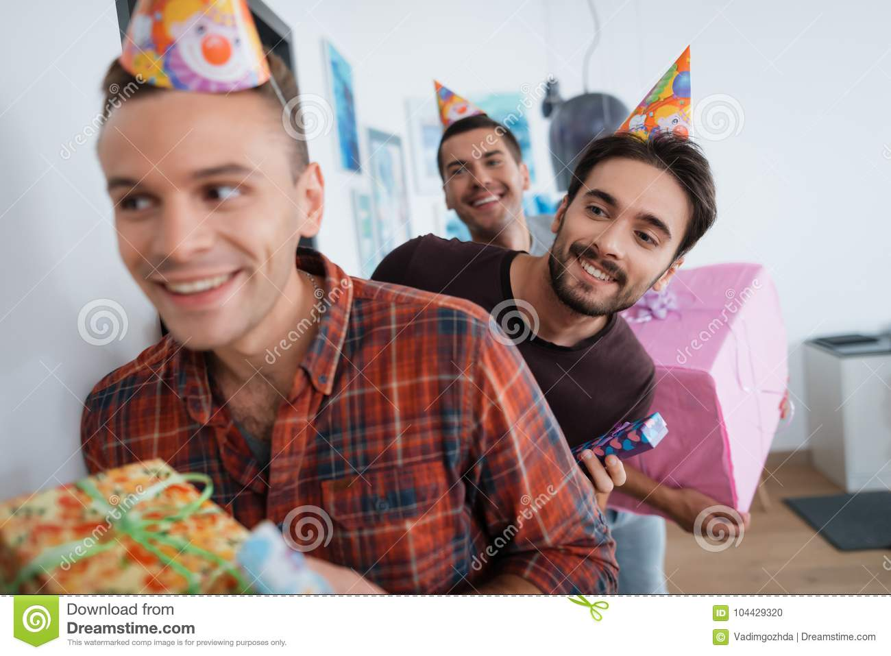 Men In Birthday Hats Are Preparing A Surprise Party They To Meet