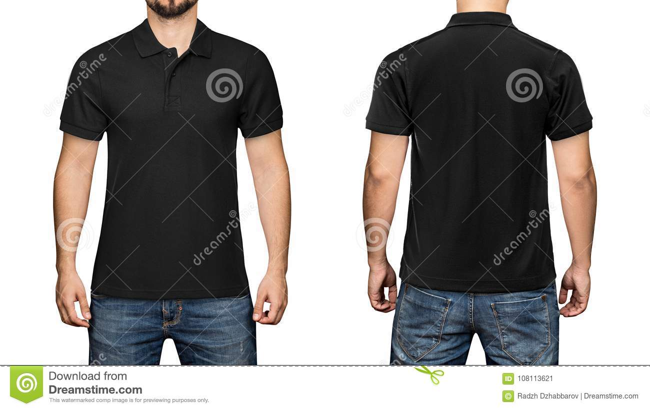 Men In Blank Black Polo Shirt Front And Back View White Background