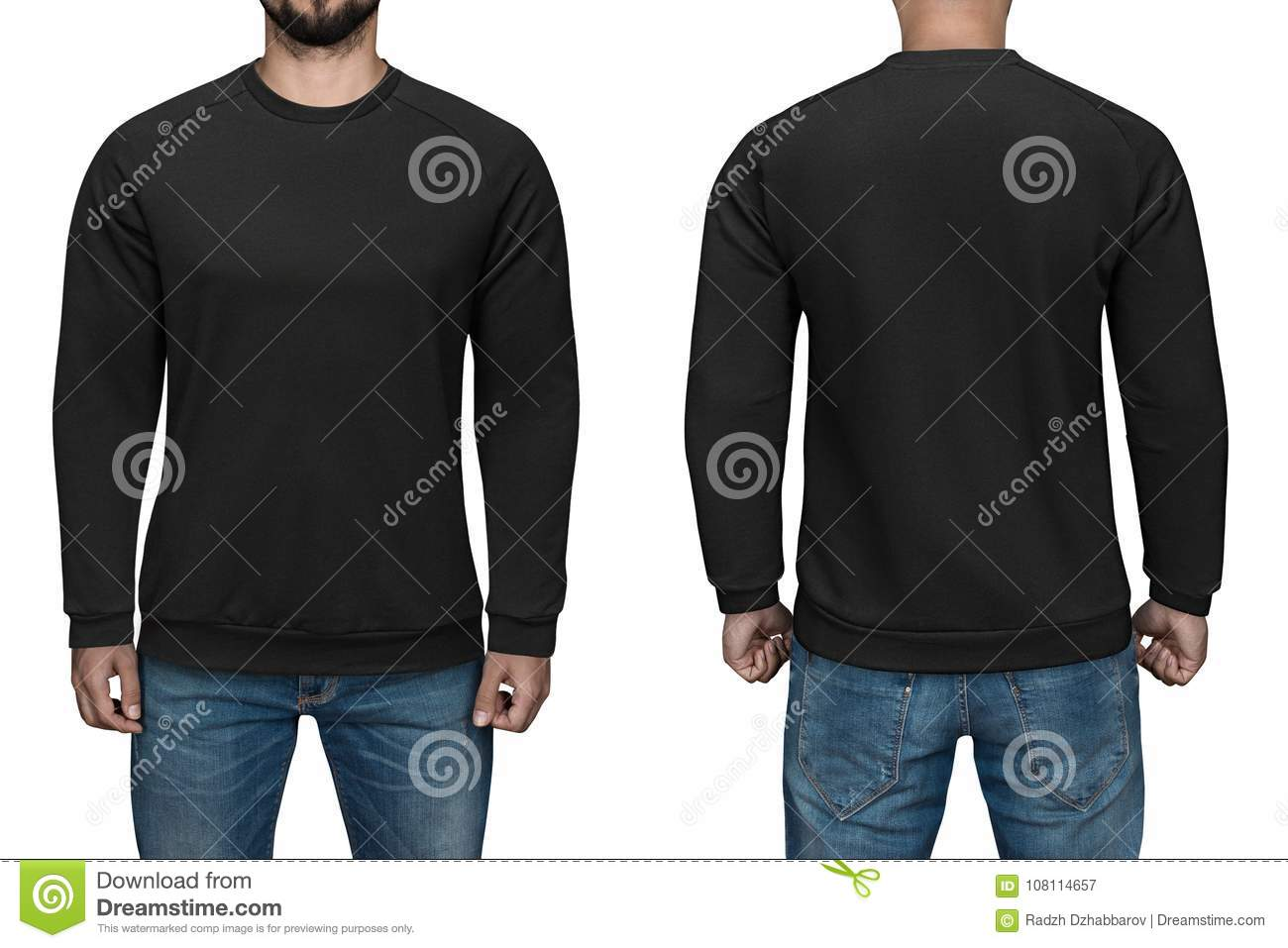 Men In Blank Black Pullover, Front And Back View, White Background ...