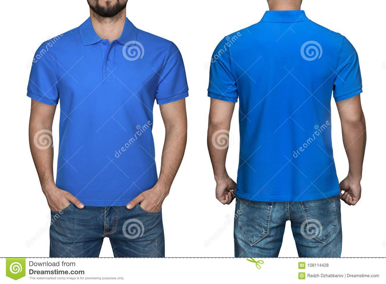 Men In Blank Blue Polo Shirt Front And Back View Isolated