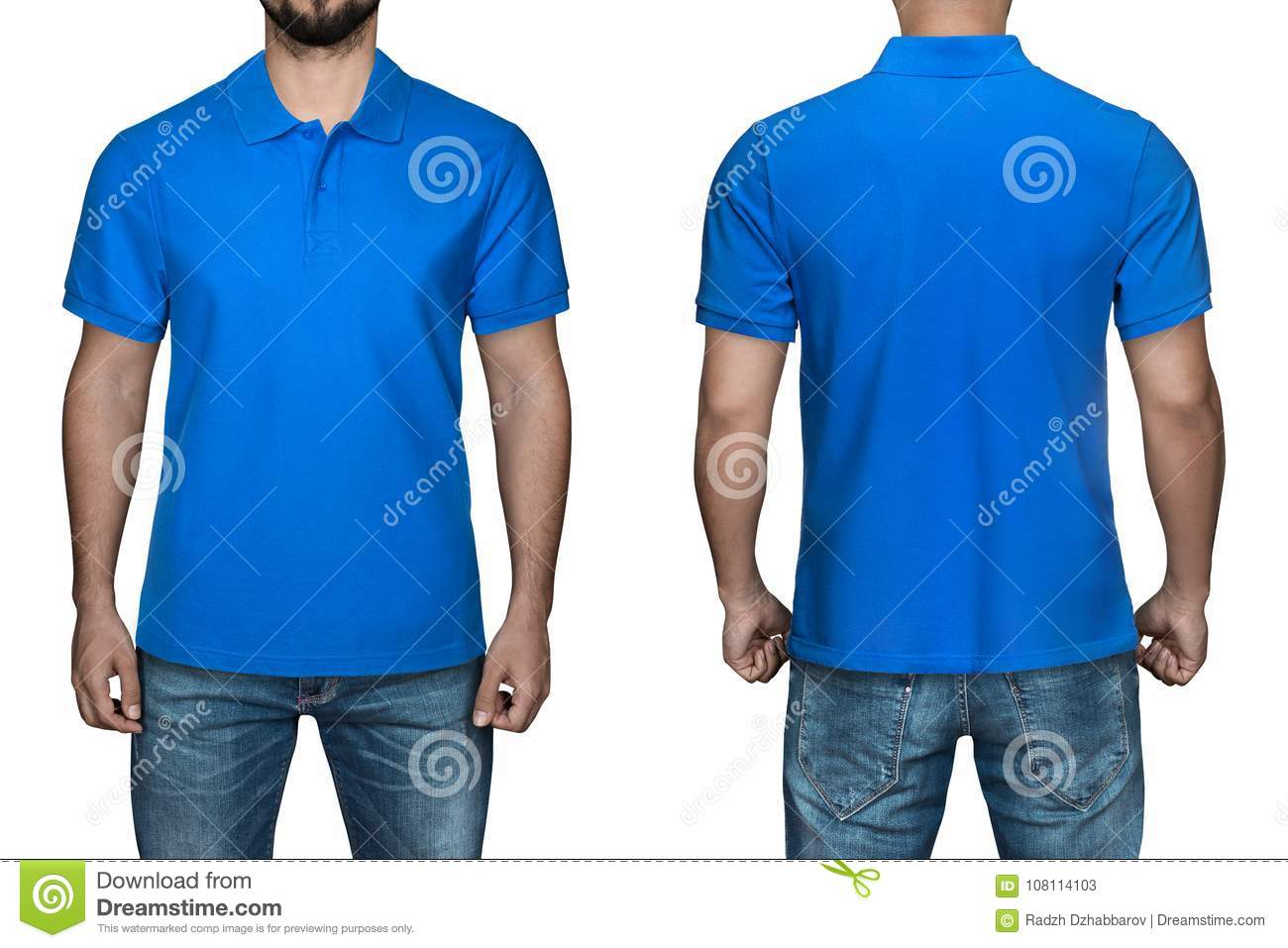 4483f7fcf14056 Men in blank blue polo shirt, front and back view, white background. Design  polo shirt, template and mockup for print.