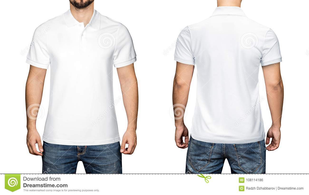 78586174 Men in blank white polo shirt, front and back view, white background.  Design polo shirt, template and mockup for print.