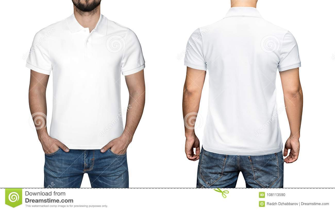 dfa7875970c59b Men in blank white polo shirt, front and back view, white background.  Design polo shirt, template and mockup for print.
